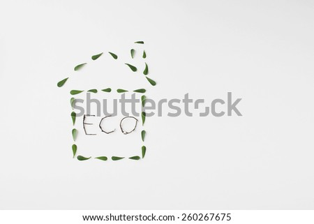 healthy ecological living symbol icon made with green leaves