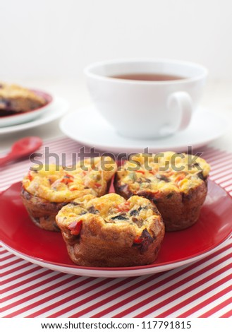 Healthy eggs and vegetables muffins for breakfast - stock photo