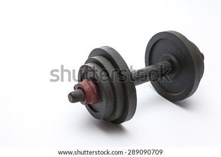 healthy equipment  lift weight dumbell on white background - stock photo