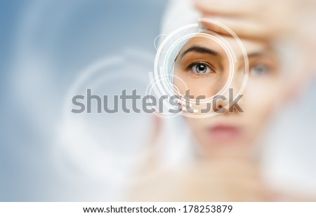 healthy eyes of a young girl - stock photo