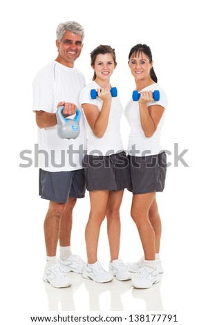 healthy family exercising on white background - stock photo