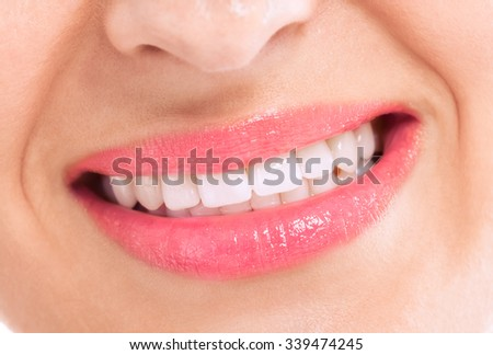 Healthy female teeth and happy smile