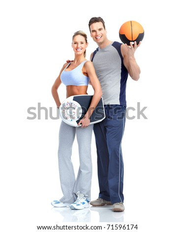 Healthy fitness people with a weight scale. Isolated over white background - stock photo