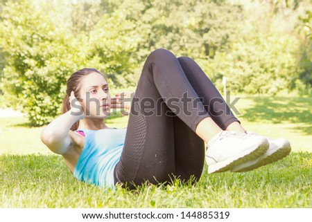 Healthy fitness young women practicing exercise outdoor. - stock photo