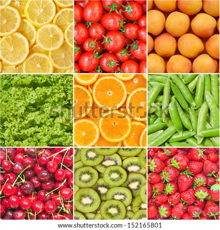 Healthy food background, collection of fruits and vegetables.