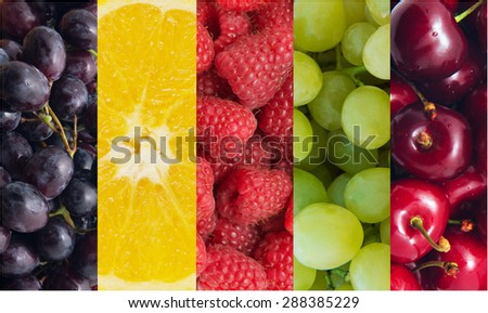Healthy food background. Collection with different fruits and berries - stock photo