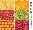Healthy food background. Fruits and berries set. Lemon, orange, kiwi, apricot, cherry, strawberry. - stock photo