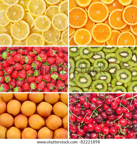 Healthy food background. Fruits and berries set. Lemon, orange, kiwi, apricot, cherry, strawberry. - stock photo