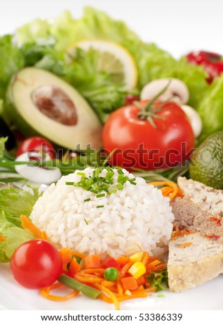 healthy food background, rice with vegetables - stock photo