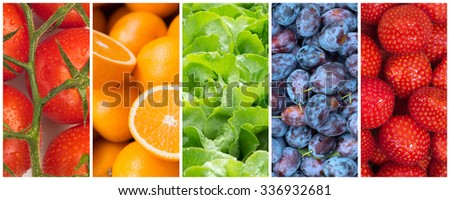 Healthy food backgrounds, five images of strawberries, plums, tomatoes, salad and oranges - stock photo
