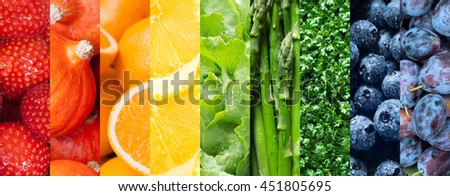 Healthy food backgrounds, nine images of strawberries, lemons, asparagus, plums, blueberries, pumpkins, lettuce, cress and oranges - stock photo