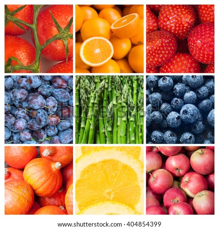 Healthy food backgrounds, nine images of strawberries, lemons, tomatoes, asparagus, apples, plums, blueberries, pumpkins and oranges - stock photo