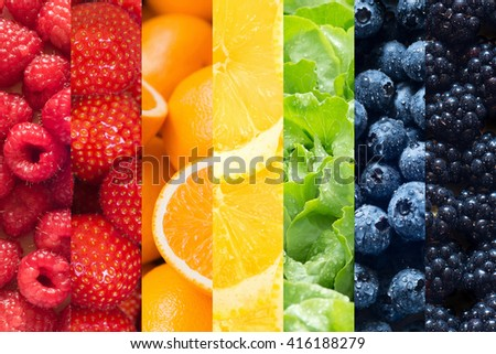Healthy food backgrounds, seven images of lemons, blackberries, blueberries, raspberries, salad, strawberries and oranges