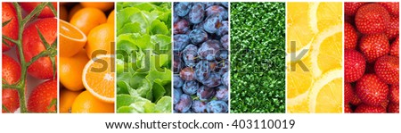 Healthy food backgrounds, seven images of lemons, plums, cress, tomatoes, salad, strawberries and oranges - stock photo