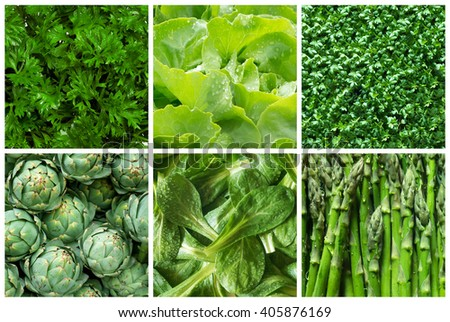 Healthy food backgrounds, six images of green food: lettuce, field salad, asparagus, artichokes, parsley and cress  - stock photo