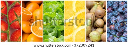 Healthy food backgrounds, six images of lemons, plums, tomatoes, salad, pears and oranges - stock photo