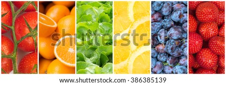 Healthy food backgrounds, six images of lemons, plums, tomatoes, salad, strawberries and oranges - stock photo