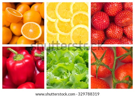 Healthy food backgrounds, six images of tomatoes, lettuce, strawberries, lemons, oranges and red paprika