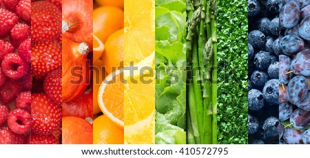 Healthy food backgrounds, ten images of strawberries, lemons, asparagus, raspberries, plums, blueberries, pumpkins, lettuce, cress and oranges - stock photo