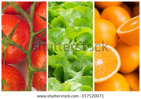 Healthy food backgrounds, three images of tomatoes, salad and oranges - stock photo