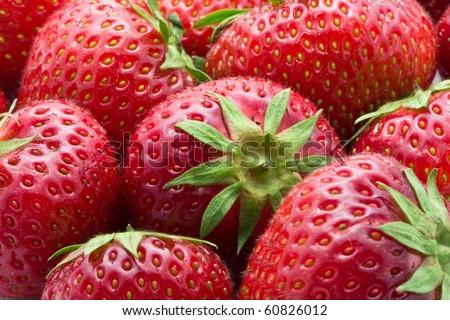 Healthy food - basket of fresh strawberries background - stock photo