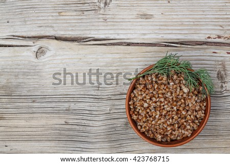 Healthy food. buckwheat on a wooden background. - stock photo