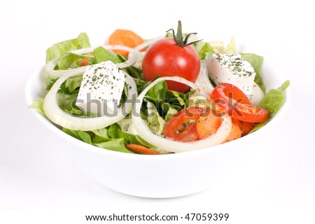 Healthy food by mix vegetable with focus on tomato. - stock photo