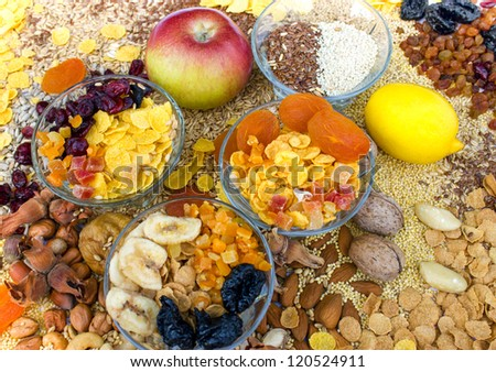 Healthy food - Candied, dried fruit and grains - stock photo