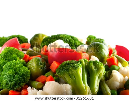 Healthy food: cauliflower, brussels sprouts, broccoli, carrots, string beans  and green peas - stock photo