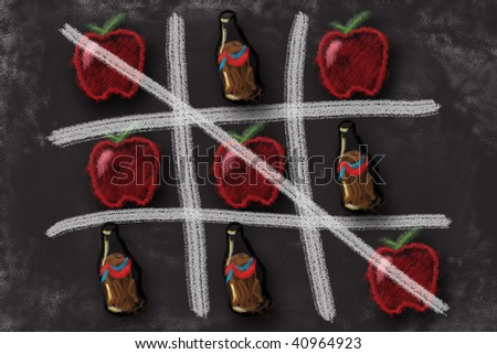 Healthy food choices win tic tac toe game over soda pop cola drink. Chalkboard drawing illustration. - stock photo