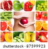 healthy food, collage - stock photo