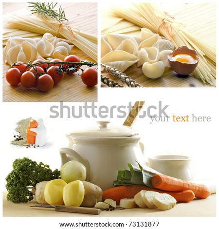 Healthy food collage made from four photographs - stock photo