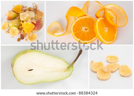 Healthy food collage with oranges, pear, muesli and cereal - stock photo