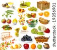 Healthy food collection isolated on white background - stock photo