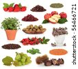 Healthy food collection of fruit, nuts, herbs and pulses, very high in antioxidants and vitamins, isolated over white background. - stock photo