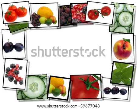 Healthy food concept, film plates with fresh food images frame on white background - stock photo