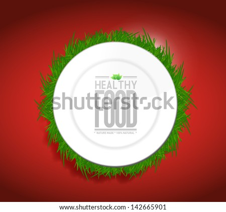 healthy food concept illustration design graph over a red background - stock photo