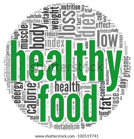 Healthy food concept words in tag cloud on white background - stock photo
