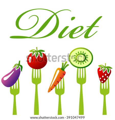 Healthy food. Diet concept, snack of vegetables and fruits. Diet and healthy food illustration.
