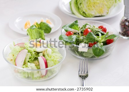 Healthy food, different salads on white background