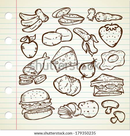 Healthy Food Doodle - stock photo
