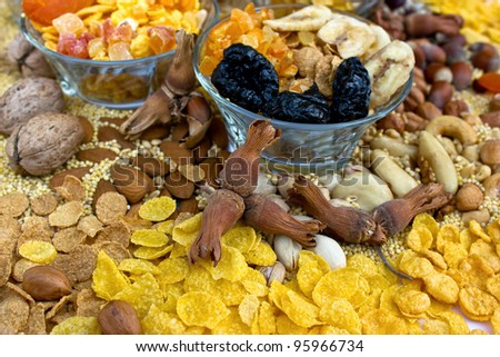Healthy food - dried fruit for everyone - stock photo