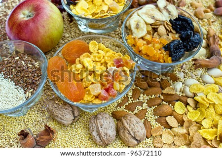 Healthy food - dried fruit is basis of healthy diet for everyone - stock photo