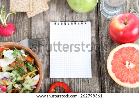 Healthy food for diet on a wooden table . - stock photo