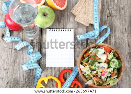 Healthy food for diet on a wooden table . Concept of healthy food . - stock photo