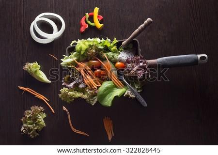healthy food fresh mixed vegetable salad. - stock photo