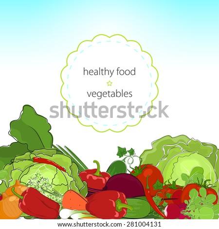 Healthy food, fresh raw vegetables, organic food - stock photo