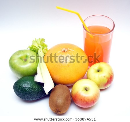 Healthy food, fruit and juice, diets.