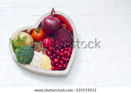 Healthy food in heart sign of healthy lifestyle - stock photo