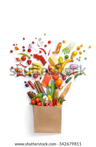 Healthy food in package / studio photography of different fruits and vegetables isoleted on white backdrop, top view. High resolution product. - stock photo
